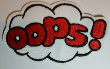 OOPS! Embroidered Iron On Sew on Patch Transfer Comic Book Super Hero Transfer