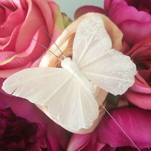 Small 8cm White Glitter Butterflies x12, Shabby Chic Ivory Wedding Decoration