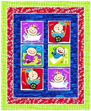 """Fabri-Quilt Baby Blocks Quilt Top 100% cotton 42"""" Fabric by the panel 35.5"""""""