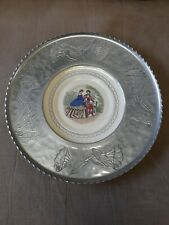 Farberware Hand Wrought Aluminum Serving Tray With Victorian ladies Plate Insert
