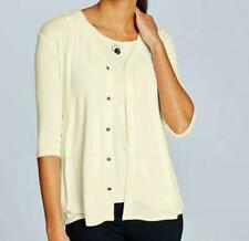 J Jill Sweater Sz L Off-White CREAM Wearever Cardigan Jacket Relaxed May Fit XL