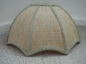 VINTAGE WICKER, RATTAN WOVEN CEILING LAMPSHADE SCALLOPED EDGE PALE GREEN TRIM