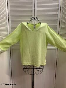 LT10V Lime Green Small NWT Match Point Linen Shirt Blouse VNeck Flax NEW