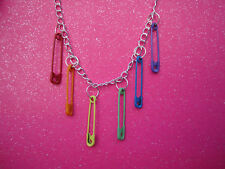 BLUEBUBBLE FUNKY SAFETY PIN NECKLACE GOTHIC RETRO EMO RAINBOW PUNK ROCK FESTIVAL