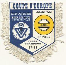 PETIT FANION 10*9 CM GIRONDINS BORDEAUX Vs LILLESTROM COUPE CHAMPIONS 1987
