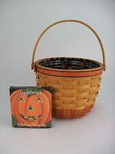 Longaberger 1995 Halloween Pumpkin Basket Combo w Face Tie On