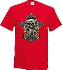 Camiseta Rojo Celta Cross Calavera Tatuaje - & Motivo Gótico Modelo Brotherhood
