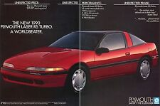 1989 3 Page Print Ad For 1990 Plymouth Laser RS Turbo