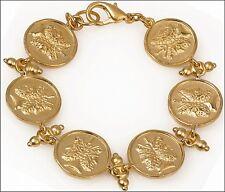 """Janus 6 Charm Bracelet 24k Gold-Plate over Pewter 7.5"""" in Length"""