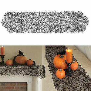 Halloween Spider Web Lace Tablecloth Party Home Decor Table Cover Accessories
