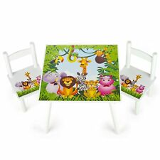 JUNGLE ANIMALS WOODEN TABLE & 2 CHAIRS SET CHILDRENS FURNITURE ZEBRA HIPPO TIGER