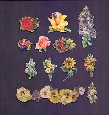 12 Nice Vintage,Scraps Flowers Largest Scrap 120 x 35 mm    (SB 23)