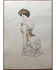 Erotische Mode Zeichnung -Original Aquarell um 1920.  Art Deco - sehr gut