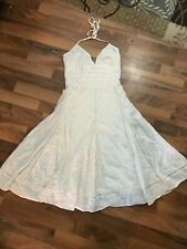 Maurices White Halter Lace Inset Dress Sz small Lined  Cotton