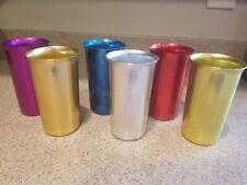 Vintage Sunburst Anodized Aluminum Cups Set of 6