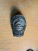 NEW HUDSON cast metal head badge. Fine casting detail. 38mm rear rivets