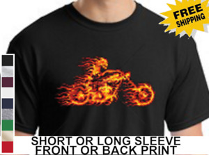 Biker On Fire Ghost Rider American Classic Motorcycle Chopper Men's T Shirt