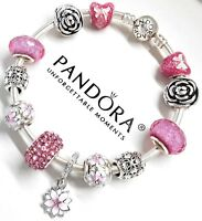 Authentic Pandora Silver Charm Bracelet Love Pink Heart European Beads..