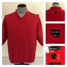 NWT FootJoy Golf Jacket Red Mens M S/S V-Neck Teflon Treated Fairway WindShirt