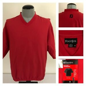 NWT FootJoy Mens M Golf Jacket Red V-Neck Teflon Treated Fairway WindShirt