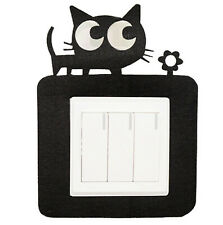 Black New Cartoon Felt Not Hurt Wall Free Sticky Black Cat Switch Stickers