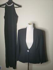 Karen Miller Size 14 Black Maxi Long Dress Womens Long Formal Evening jacket