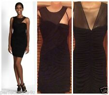 NEW BCBG MAX AZRIA ROSALYN SHIRRED DRESS sz M ACJ6L976 BLACK $278