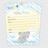 20 Baby Shower Invitations Boy Invites Elephant Favors Decorations Cards Animal