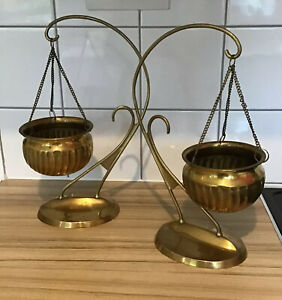 Two Vintage Brass Plant Stands  with Hanging Brass Plant Holders Pot with Chains