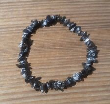 NATURAL SNOWFLAKE OBSIDIAN STONE GEMSTONE STRETCHY CHIP BRACELET