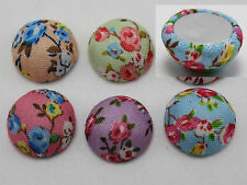 50 Mixed Color Flatback Fabric Flower Covered Buttons Round 15mm Half Ball DIY