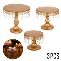 3Pcs Cake Stand Gold Set Dessert Stands Cake Pop Stand W/ Crystals Baby Shower