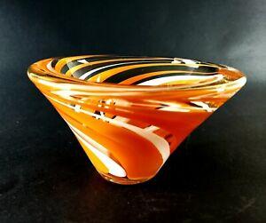 MIKASA RETRO ORANGE WHITE ROCK SWIRL ART GLASS CONE SHAPE BOWL HEAVY THICK