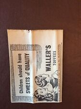 H1a Ephemera 1940s Advert Wallers Waller's Toffees Sweets Of Quality