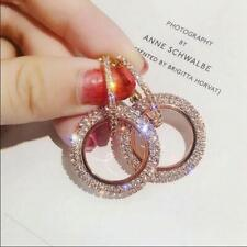 9K REAL ROSE GOLD FILLED CIRCLE HOOP EARRINGS MADE WITH SWAROVSKI CRYSTALS
