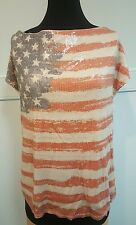 International Concepts Cowl Neck Sequin US AMERICAN Flag Knit Top 1X 4TH OF JULY