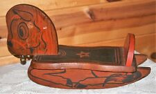 Vintage Mid-Century Wood Rocking Horse Bell Painted Details, Photography Prop