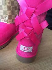 UGG AUSTRALIA Bailey Bow Boots Princess Pink Big GIRLS/WOMEN Size UK 3 FITS UK 4