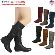 DREAM PAIRS Womens Wide Calf Faux Fur Slouchy Low Heel Side Zip Knee High Boots