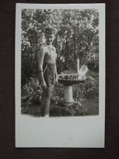 Young Girl With Big Eyes Wearing Halter Top By Bird Bath Vtg 1940's Photo