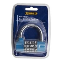 Syneco RESETTABLE COMBINATION PADLOCK Zinc Alloy Body, Steel Shackle, 5-Digit