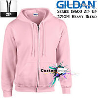Gildan Pink Zip Up Hoodie Basic Hooded Sweatshirt Sweater Fleece Sweat Men