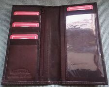 Men's Women's Dark Brown GENUINE LEATHER Checkbook Cover Holder Organizer WALLET