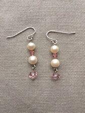 Pearls/Austrian Crystal Drop Earrings Sterling One-Of-A-Kind