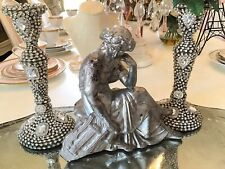 Antique Vtg Lady Goddess Metal Statue Clock Topper Silver
