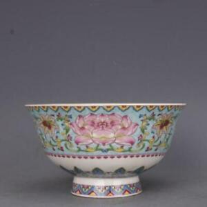 """Chinese Qing Qianlong Famille Rose Porcelain Green Glaze Lotus Design Bowl 4.8"""""""
