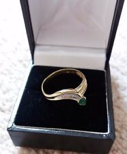 Emerald & Diamond Ring – Fabulous Condition – 8k – Size Q ½