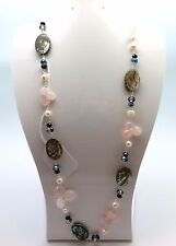 Silvertone Abalone Shell Pearl and Rose Quartz Stone Long Fashion Necklace