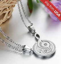 Titanium Stainless Steel Crystal Love Music Note Couple His & Hers Necklace SET