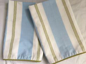NEW Martha Stewart Euro Shams: Blue, White, Green Striped Pattern